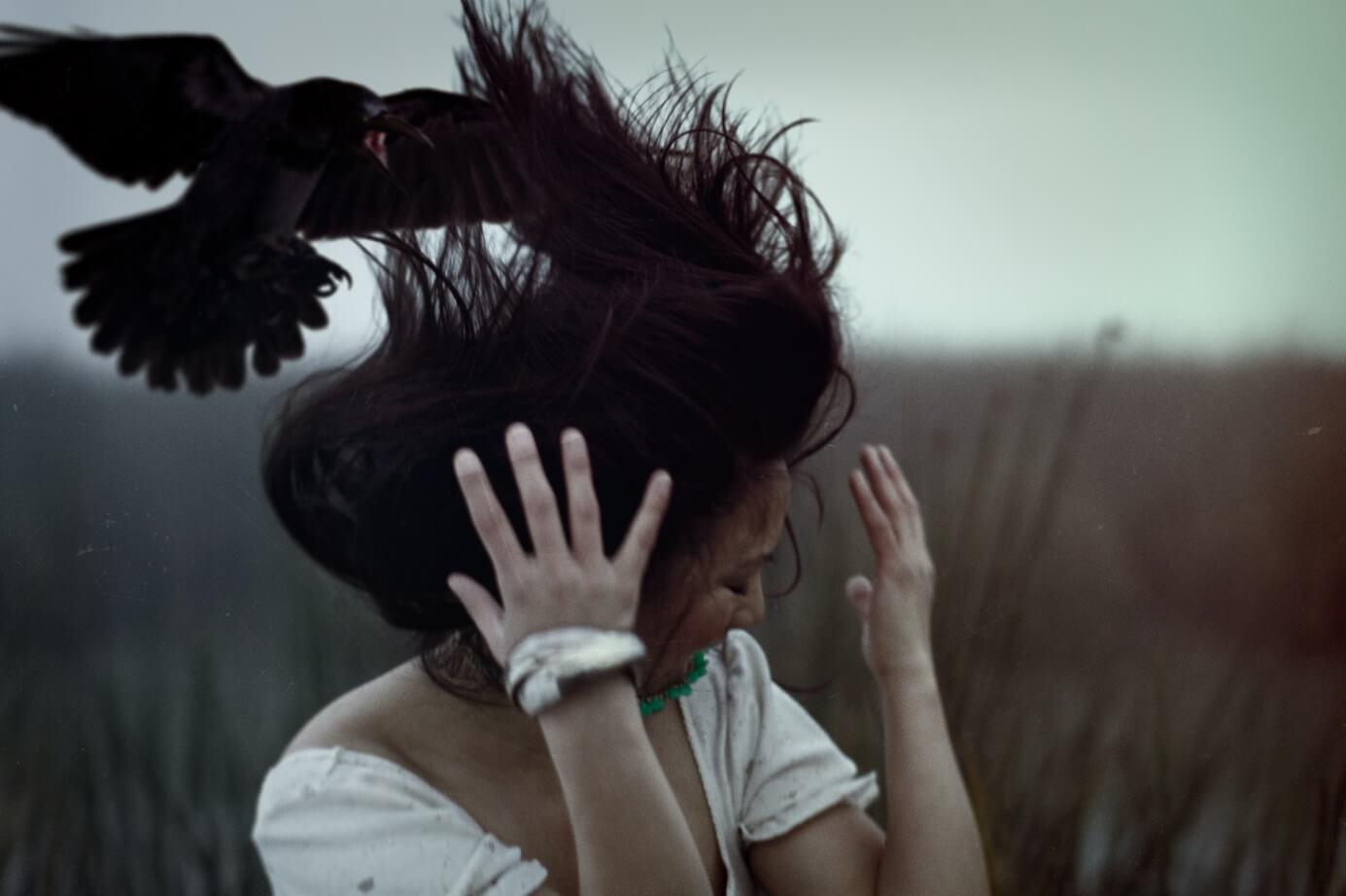 Ворона клюнула в голову